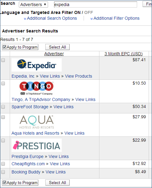 Expedia affiliate program search