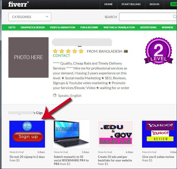 Signups sold on Fiverr