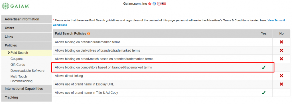 Gaiam affiliate paid search policies